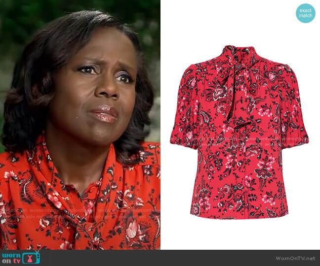 Tie-Neck Floral-Print Top by Erdem worn by Deborah Roberts  on Good Morning America