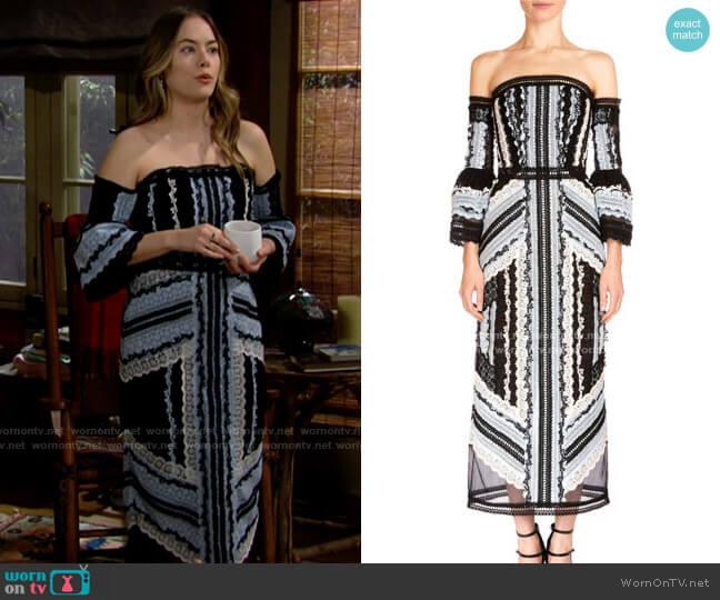 Erdem Sissy Exposed Shoulder Midi Dress worn by Hope Logan (Annika Noelle) on The Bold & the Beautiful