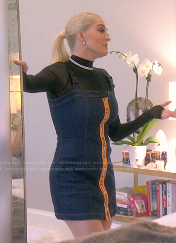Erika's denim pinafore dress on The Real Housewives of Beverly Hills