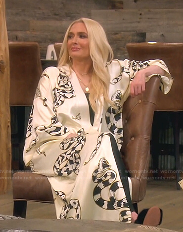 Erika's white snake print robe on The Real Housewives of Beverly Hills