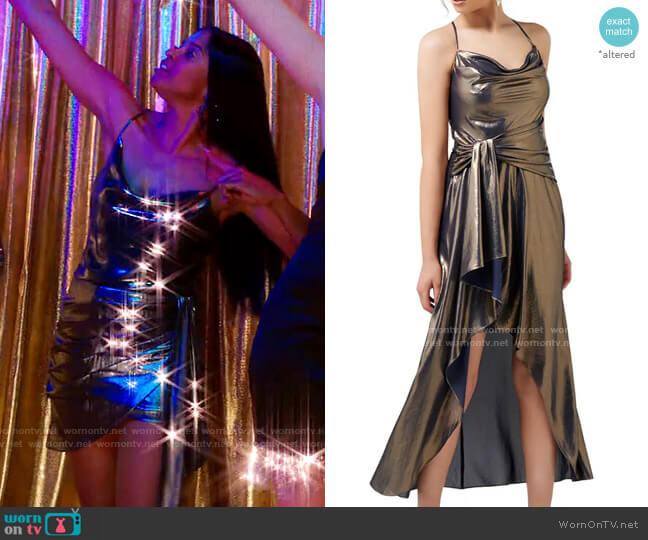 Ever New Charli Metallic Cowl Neck Maxi Dress worn by Wickie Roy (Renée Elise Goldsberry) on Girls5eva