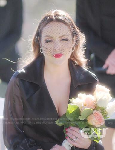 Fallon's black wrap dress on Dynasty