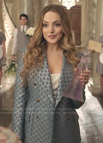 Fallon's blue Gucci logo print jacket and pants on Dynasty