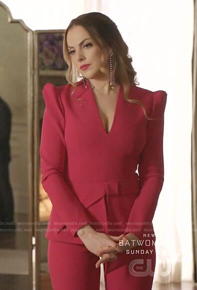 Fallon's pink peplum top and pants on Dynasty