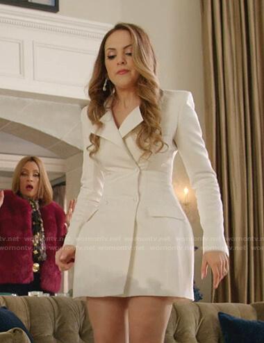 Fallon's white blazer dress on Dynasty