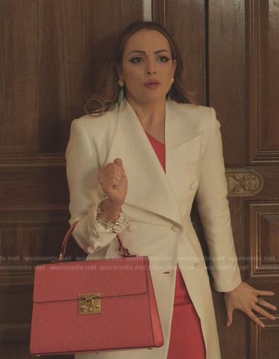 Fallon's white asymmetric collar coat on Dynasty