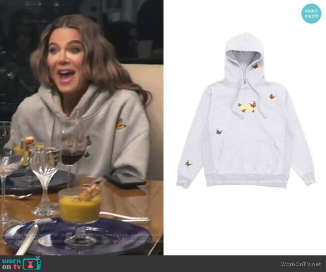 Butterfly Embroidered Hoodie by Felt worn by Khloe Kardashian  on Keeping Up with the Kardashians