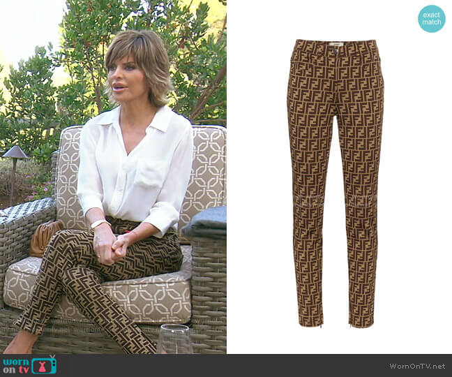 FF Motif Print Skinny Trousers by Fendi worn by Lisa Rinna  on The Real Housewives of Beverly Hills