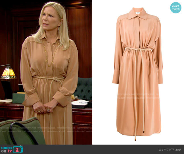 Fendi Crepe de Chine Shirtdress worn by Brooke Logan (Katherine Kelly Lang) on The Bold & the Beautiful