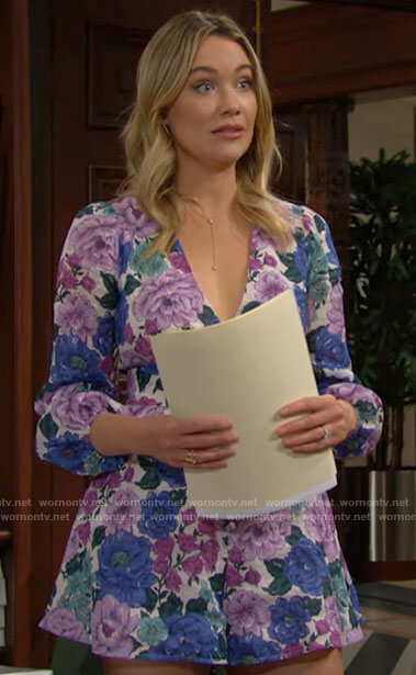 Flo's floral romper on The Bold and the Beautiful