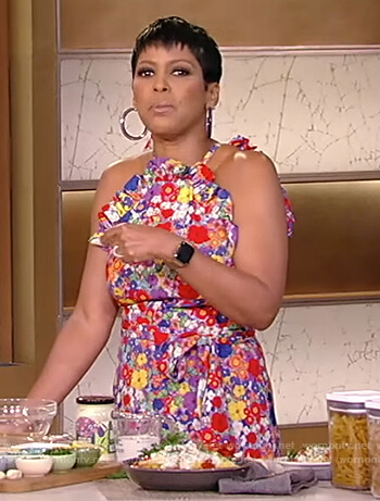 Tamron's floral print ruffle dress on Tamron Hall Show