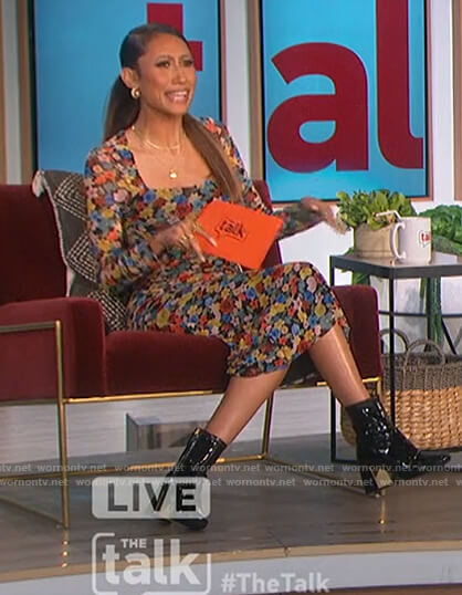 Elaine's floral square neck dress on The Talk