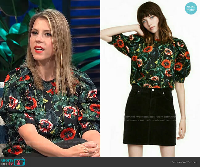 Floral Top by H&M worn by Jodie Sweetin on E! News Daily Pop