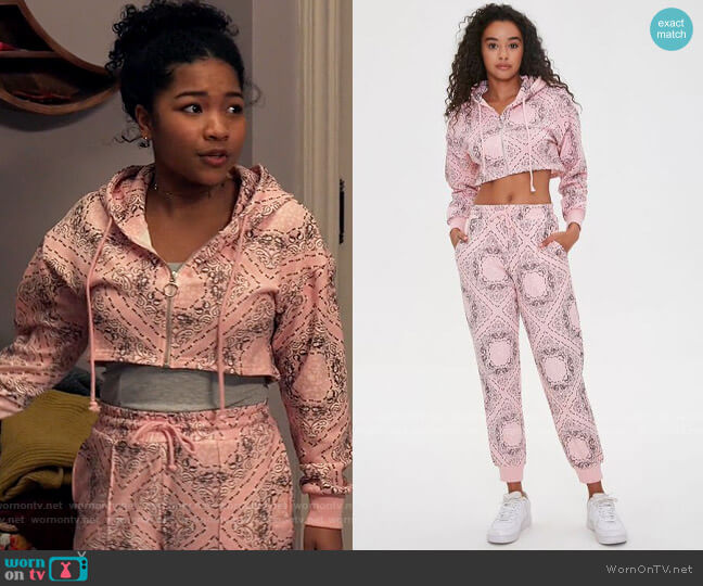Forever 21 Paisley Print Hoodie and Joggers worn by Delilah (Laya DeLeon Hayes) on The Equalizer