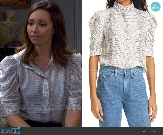 Gillian Blouse by Frame worn by Gwen Rizczech (Emily O'Brien) on Days of our Lives