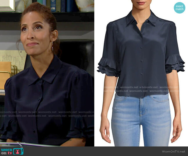 Frame Ruffle Sleeve Top worn by Lily Winters (Christel Khalil) on The Young & the Restless