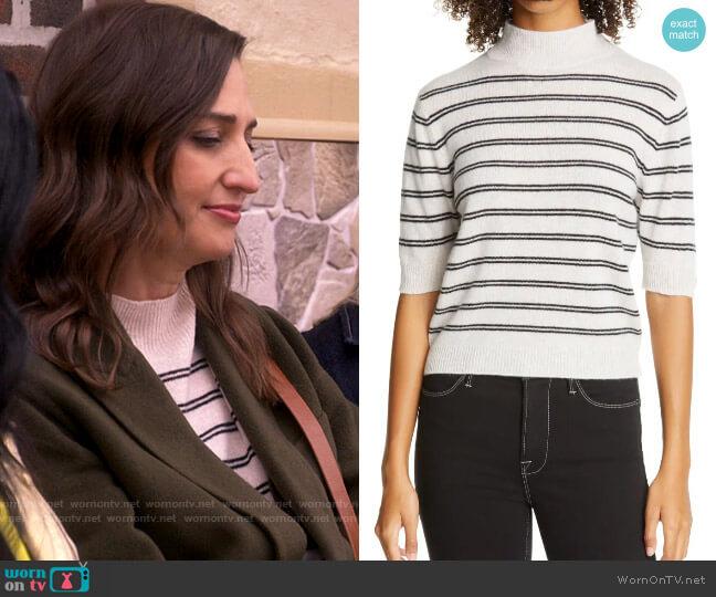Frame Stripe Wool & Cashmere Crop Sweater worn by Dawn Solano (Sara Bareilles) on Girls5eva