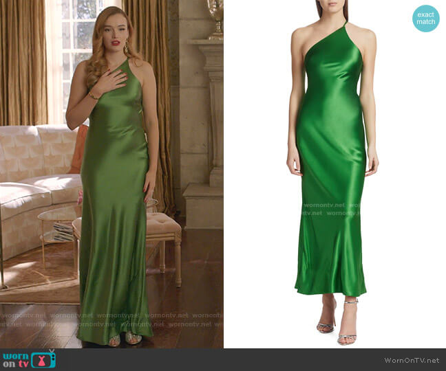 Roxy One-Shoulder Satin Dress by Galvan worn by Kirby Anders (Maddison Brown) on Dynasty