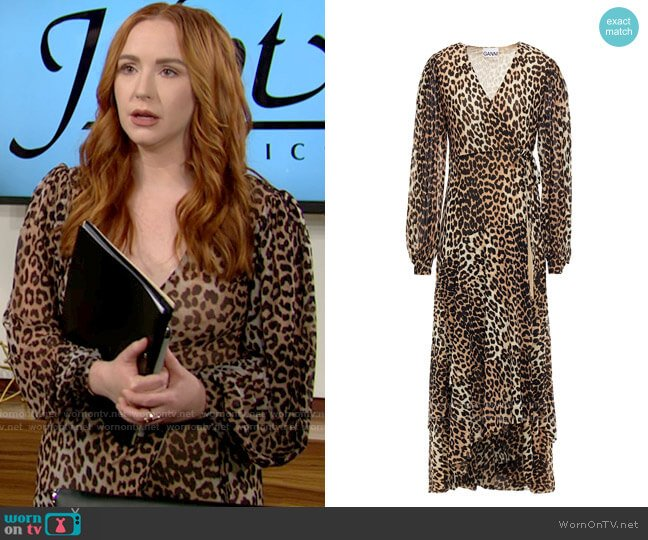 Ganni Leopard-print stretch-mesh midi wrap dress worn by Mariah Copeland (Camryn Grimes) on The Young & the Restless