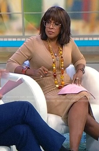 Gayle King's beige ribbed v-neck dress on CBS Mornings