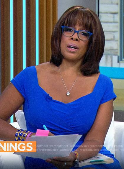 Gayle King's cobalt blue dress on CBS Mornings