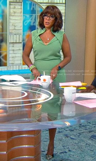 Gayle King's green folded neckline dress on CBS Mornings