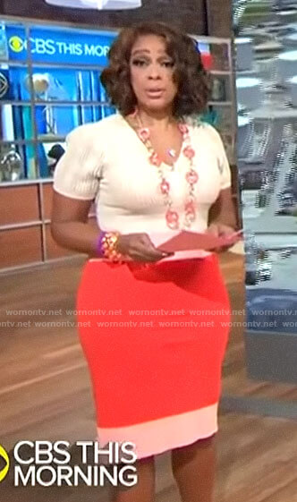 Gayle King's beige and orange knit dress on CBS This Morning