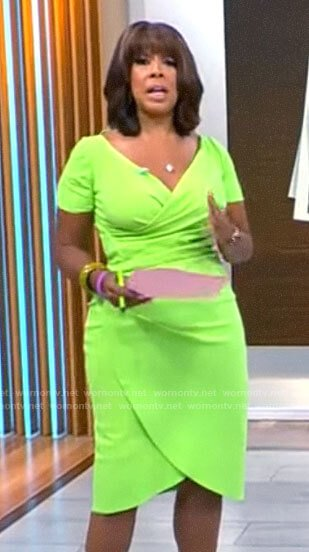 Gayle's lime green wrap dress on CBS Mornings