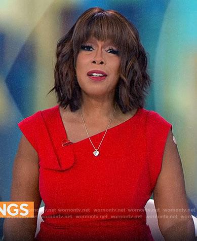 Gayle's red asymmetric neck dress on CBS Mornings