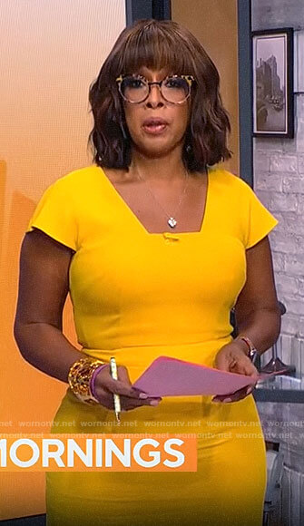 Gayle's yellow square neck dress on CBS Mornings