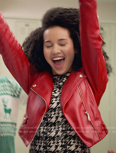 Gina's red cropped leather jacket on High School Musical The Musical The Series