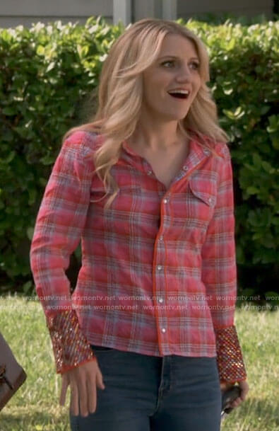 Gina's pink plaid shirt with embellished cuffs on B Positive