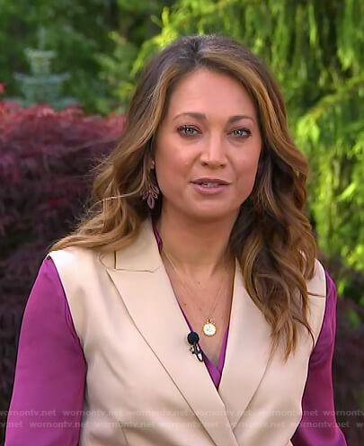 Ginger's beige wrap vest on Good Morning America