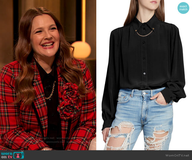 Chain-Trimmed Silk Blouse by Givenchy worn by Drew Barrymore  on The Drew Barrymore Show