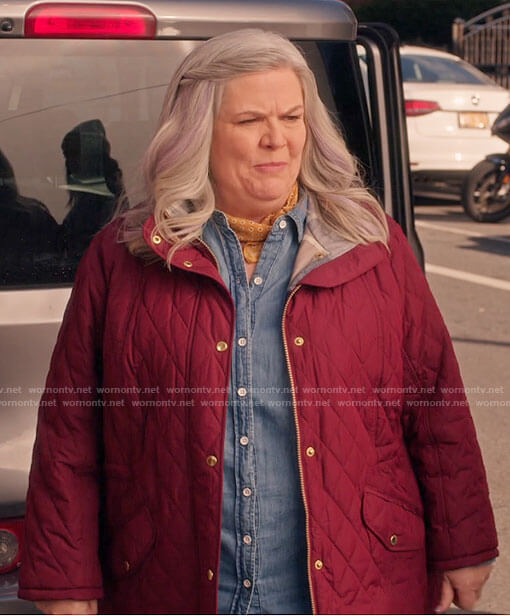 Gloria's red quilted jacket on Girls5eva