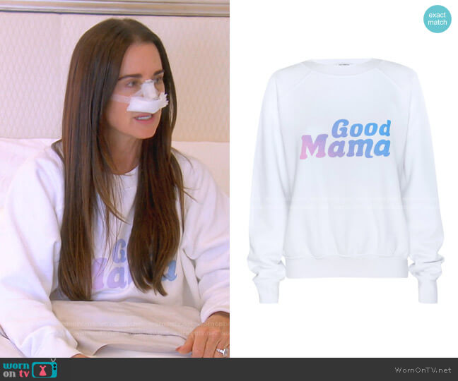Mothers Day Sweatshirt by Good American worn by Kyle Richards  on The Real Housewives of Beverly Hills