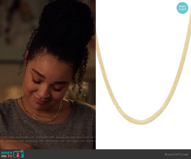 Snake Chain Wide Venice Necklace by Gorjana worn by Kat Edison (Aisha Dee) on The Bold Type