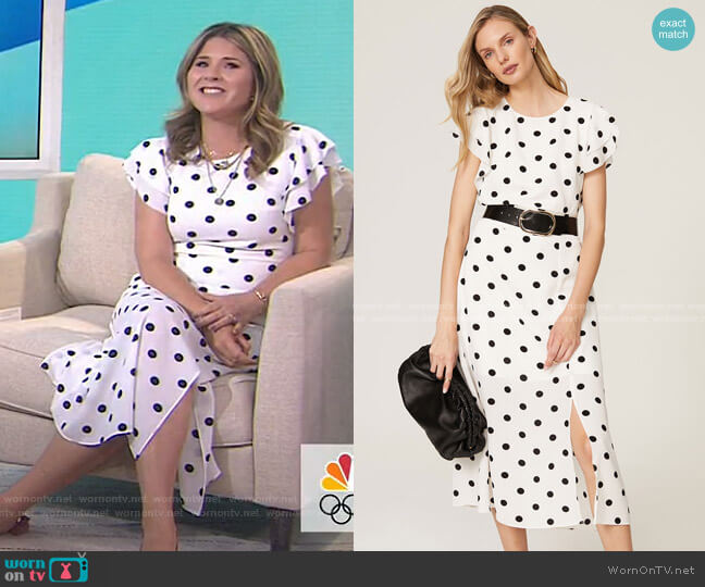 Polka Dot Ruffle Sleeve Dress by Great Jones worn by Jenna Bush Hager  on Today