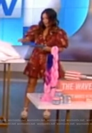 Gretta Monahan red floral puff sleeve dress on The View