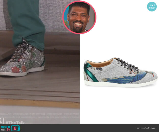 Bambi Tian-Print Glitter Sneakers by Gucci worn by Deon Cole on The Talk
