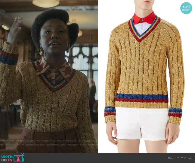 Metallic Lurex Cable Knit Sweater by Gucci worn by Judae'a Brown on The Chi