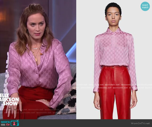 GG monogram printed shirt by Gucci worn by Emily Blunt on The Kelly Clarkson Show