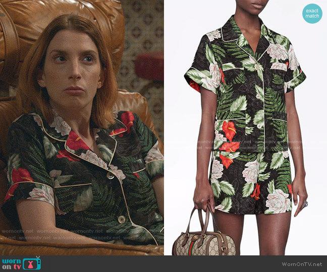 Hawaiian-print Silk Shirt and Shorts by Gucci