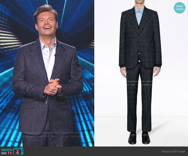 Heritage Bee Checked Suit by Gucci worn by  Ryan Seacrest on American Idol