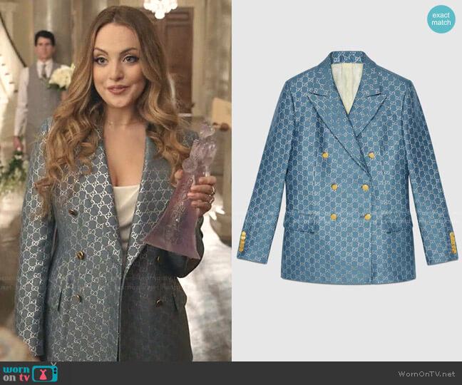 Light GG Lamé Jacket by Gucci worn by Fallon Carrington (Elizabeth Gillies) on Dynasty