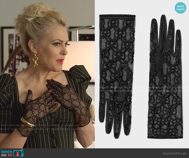 Tulle Gloves with GG Motif by Gucci worn by Alexis Carrington (Elaine Hendrix) on Dynasty