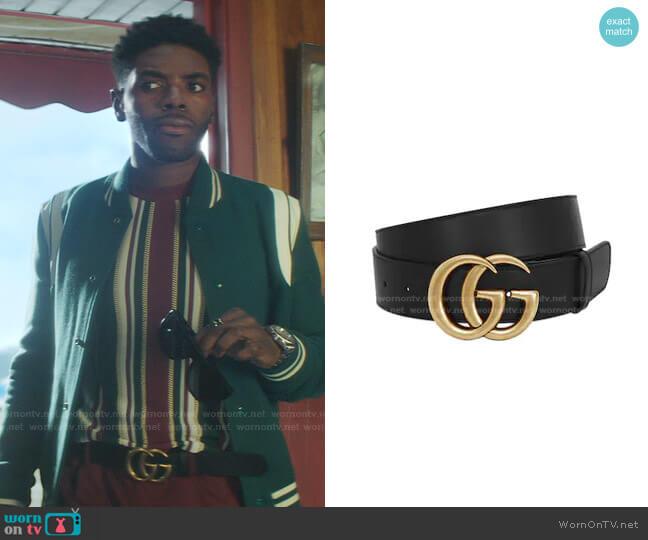 GG Gold Buckle Belt by Gucci worn by Tian Richards on Nancy Drew