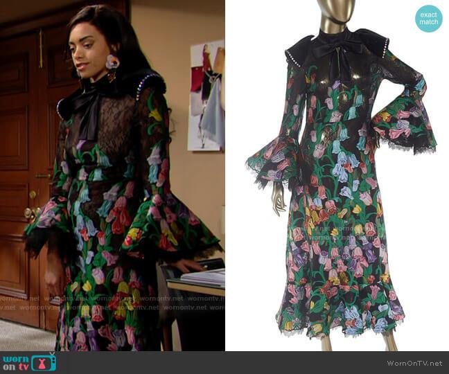 Gucci Floral Dress worn by Zoe (Kiara Barnes) on The Bold & the Beautiful