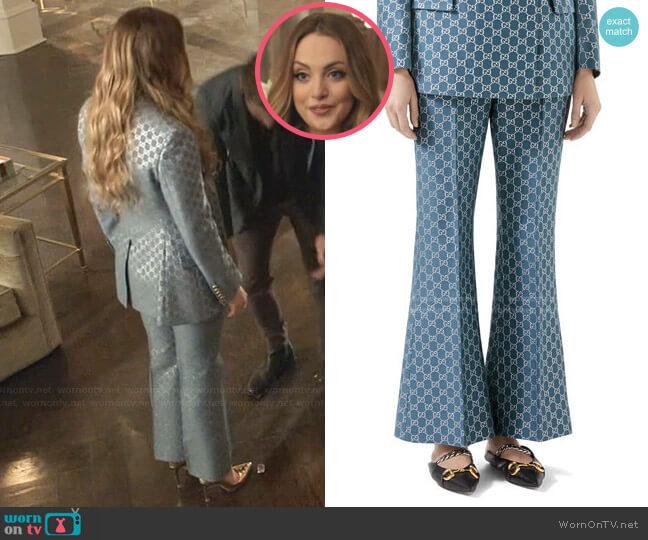 GG Metallic Flare Pants by Gucci worn by Fallon Carrington (Elizabeth Gillies) on Dynasty