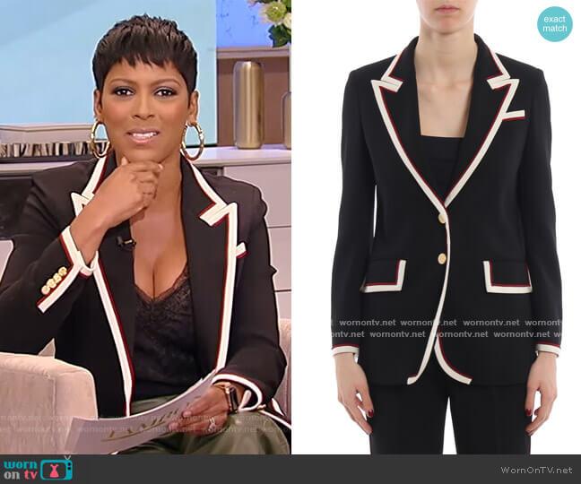 Contrast Trim Blazer Jacket by Gucci worn by Tamron Hall  on Tamron Hall Show